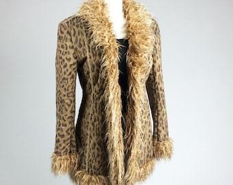 90's Leopard Print Faux Suede with Shaggy Fur Trim Coat // M