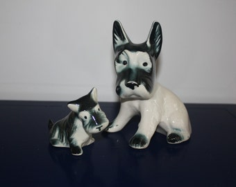 Vintage Collectible Figurine / Scottie/ Scottish Terrier Pair/ Scotties Puppies/ Blue Green Glaze