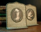 Antique Victorian Bookends / French Style / Tattered Silk Oval Fabric Silk Cameo Bookends