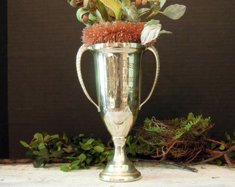 Vintage Silver Plate Trophy / Midlothian Country Club / Silver Golf Loving Cup / Chicago District Golf Association / Shelf Decor / 1961