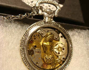 Clockwork Mermaid Steampunk Pocket Watch Pendant Necklace -Made with Real Watch Parts (2001)