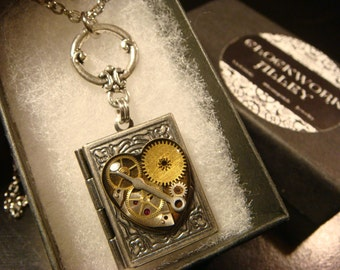 RESERVED--Steampunk Style Heart with Watch parts and Gears Book LOCKET Necklace- (2198)