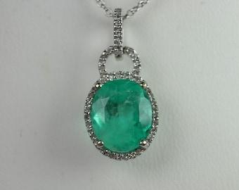 Romantic! 3.45tcw Colombian Emerald & Diamond Halo Pendant 14k
