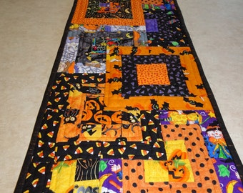 "Halloween  "" Squared"" Reversible Patchwork Quilted Table Runner"