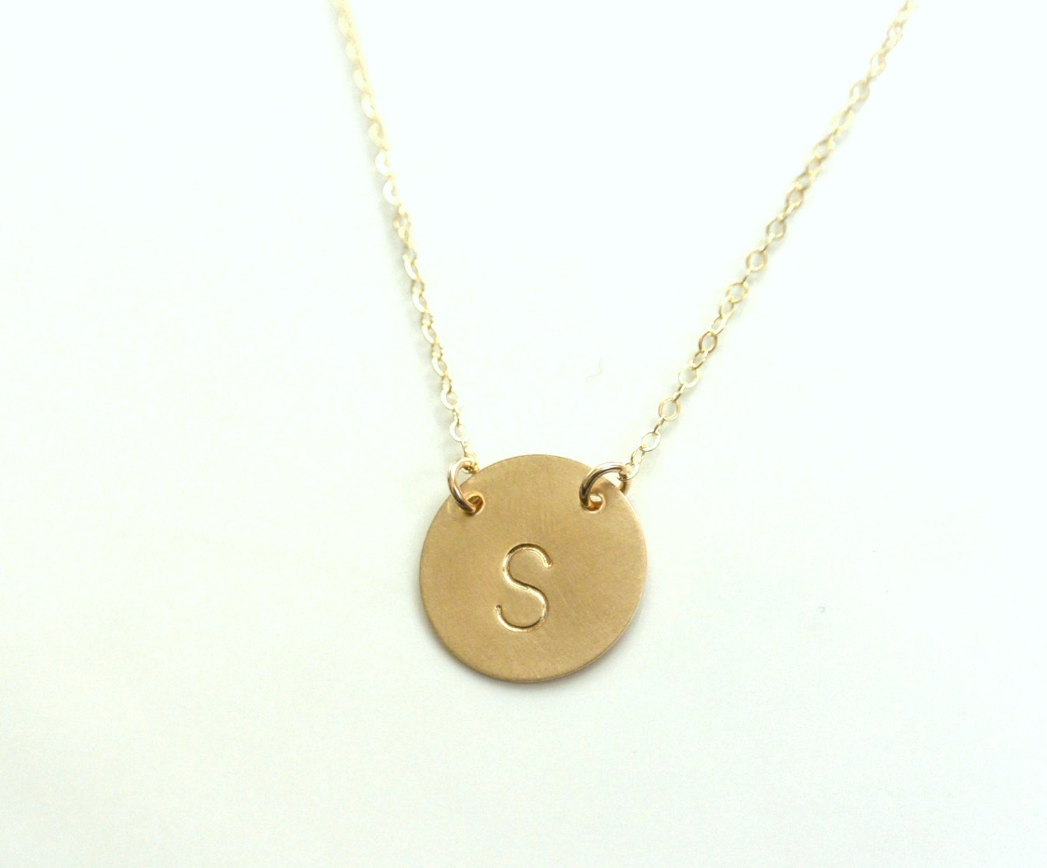initial necklace gold disc necklace personalized jewelry