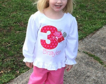 Custom monogram peppa pig girls birthday outfit. Ruffle pants and matching shirt set Personalized with name and number
