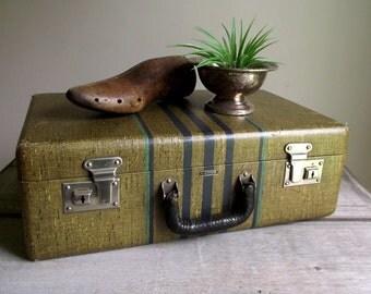 Vintage Striped Suitcase | 1940s Langmuir Suitcase | Hardside Luggage | Vintage Home Decor | Stackable Suitcase | Photo Prop Wedding Decor