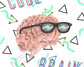 "Cool Brain Greeting Card, 4.25""x5.5"", Blank Inside, sunglasses, rad, neon, 90s, 80s"