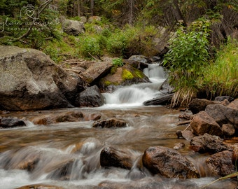 Waterfall  Photography Landscape Photography Woodland Nature Photography Colorado Photography  stream home decor Fine Art Photography Print