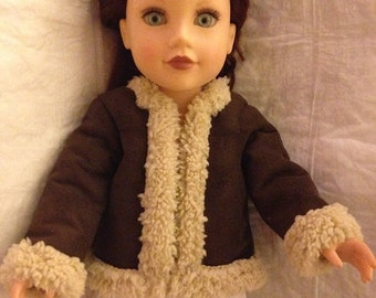 Handmade faux Sherpa & Suede coat for 18 inch dolls - ag270