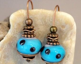 Lampwork Bead Earrings, Blue Earrings, Art Bead, Copper Earrings, Flamework, Artisan Beads, Handmade Beads, Emerald City Glass, Marcie Page
