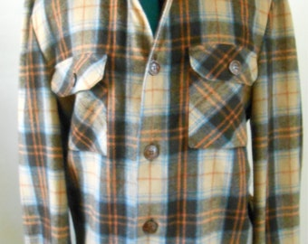 Vintage 1970s blue and brown plaid wool button-down collared shirt, size Med