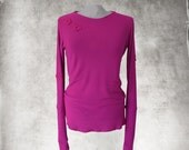 Fuschia sweater top/butterfly knit pink/extra long sleeves/crew neck shirt