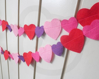 Valentine Heart Garland - made with red, pink and purple wool blend felt.