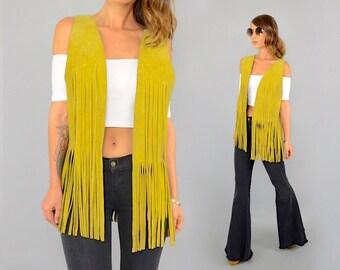 70's Mustard Suede Fringe Vest