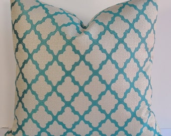Designer teal Quatrefoil decorative pillow cover turquoise natural oatmeal BOTH SIDES lattice trellis geometric pillow lumbars square