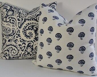 Floral designer pillow cover Wood Block indigo blue Robert Allen decorative pillow, boho hand flora