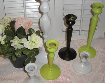 Lot 6 Hand Painted Metal Candle Sticks Candle holders