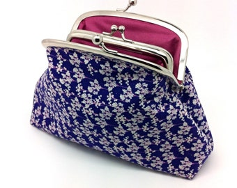 Purple Flower Kiss Lock Coin Purse Wallet Clutch Gift for Women Cotton Pink Chintz White Silver Double Metal Frame