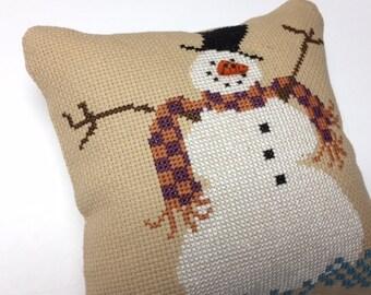 Snowman Cross Stitch Decor, Finished Cross Stitch, Completed Cross Stitch, Winter Decor