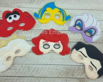 Ariel, Prince Eric, Flounder,  King Triton, Ursula, Sebastian set Embroidered felt play mask Little  Mermaid child size play set playset