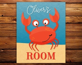 Crab Wall Art, Under the Sea Room Decor, Name Decor, Crab Name Print, DIY printable wall art personalized with name