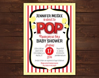 Popcorn Printable Invitation, About to Pop Shower Invite, popcorn box baby shower, fun theme -- Any Color