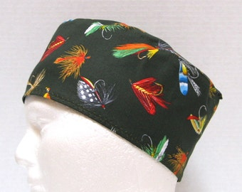 Mens Scrub Hat, Scrub Cap or Chemo Cap with Colorful Fly Fishing Lures