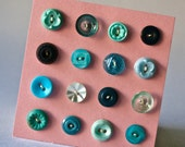 Small Vintage Buttons in Shades of Teal or Turquoise for Sewing and Crafts