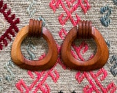 Vintage 70's Danish Modern Teak Wood Earrings Women's Jewelry Retro / Mod
