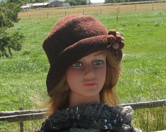 Uptown Girl Merlot Heather Wine Reddish Brown Knit Felt Wool Hat Slant Brim