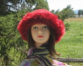 Knit Felt Cranberry Red Wool Fur Trim Hat  Crusher