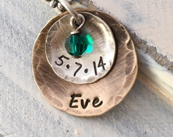 Personalized Hand Stamped Rustic Sterling Silver and Antiqued Brass Stacked Birthstone Mommy Necklace