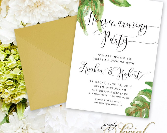 Calligraphy Housewarming Party Invitation - Big Leaf Botanical Classy Black and White Calligraphy Typography New Home Printable