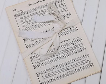 Vintage Music Pages from old Hymn Book, Old Hymnal Pages, Vintage Paper Ephemera with Aged Patina, Paper Crafting Supply, Christian Songs