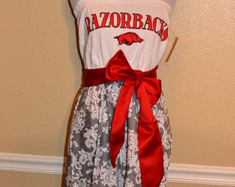 Arkansas Razorbacks HOGS Gameday Strapless Red Black Grey Floral Baroque Football Dress with Red Sash Bow - Large