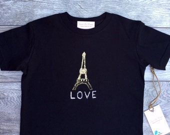 Eiffer Tower - Paris France - Gold - Toddler T-Shirt - Black T-shirt
