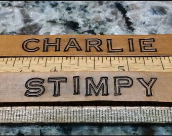 Reserved Listing for Charlie and Stimpy. Custom leather cat collar. Name, address, phone number etc. stamped in leather