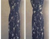 HALF OFF Vintage 1990s Black and White Floral Rayon Sleeveless Maxi BILA Festival Hippie Dress M (e)