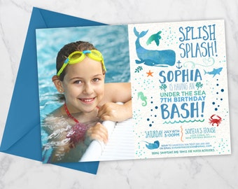 Under the sea invitation with picture | Under the sea birthday | Ocean Birthday | Pool Party Birthday Invitation | Birthday Pool Party