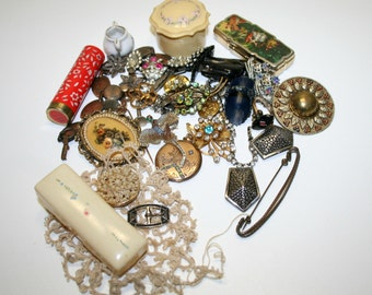 Vintage  Jewelry Findings,  Costume Jewelry- Rings, shoe clips bracelets and more