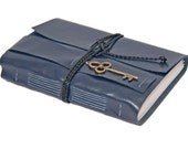 Large Navy Blue Faux Leather - Lined Paper - Key - Bookmark - Wrap Journal - Travel Journal - Guest Book - Wedding Journal - Ready to Ship -