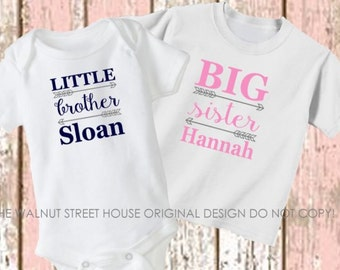 Big Brother Little Brother Big Sister Little Sister Shirt set of 2 set of 3 Sibling Shirt Personalized T-Shirt Toddler Youth Infant