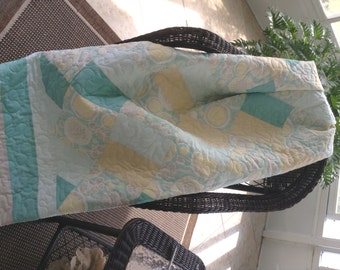 "Yellow/White/Teal Quilt - 54"" x 76"" - Contemporary/Modern Quilt - Ready to Ship"