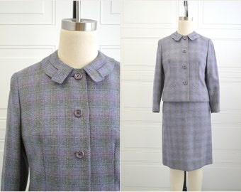 1950s Lavender Tailorbrooke Wool Plaid Skirt Suit