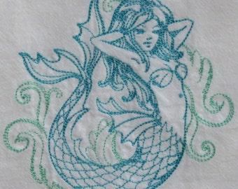 Machine Embroidery Flour Sack Towel Nautical design Mermaid,  bath, kitchen, hostess gift, tea towel, basket liner, ocean, sea