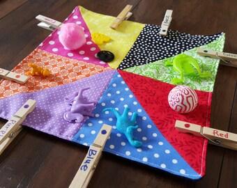 Color sorting square, learning, sensory, toddler, treasure, preschool, rainbow sorting, Montessori