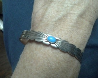 Southwestern Navajo cuff sterling turquoise Ray Bennett vintage jewelry 925
