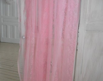 pink sheers pink curtains shabby decor cottage chic nursery decor sheer curtains butterfly sheers floral sheers cottage country - 42 x 76