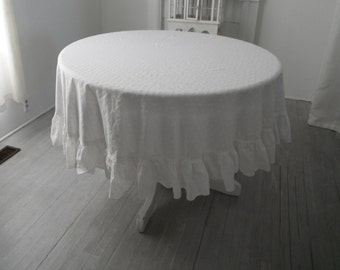 """eyelet cotton tablecloth white tablecloth vintage tablecloth shabby decor cottage chic white cloth wedding decor ruffled tablecloth 70"""" diam"""